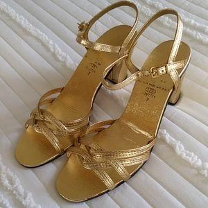 Metallic Gold Ankle Strap Block Heel Shoes Size 7